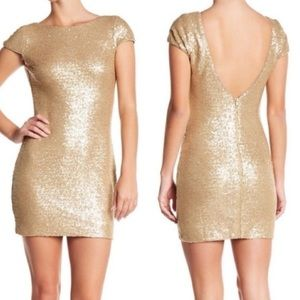 Dress the Population Gold Sequin Tabitha Dress